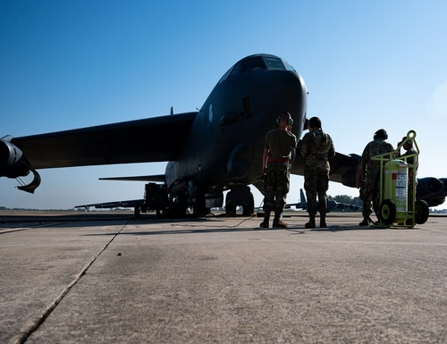 Maintainers from the 96th Air Maintenance Unit perform maintenance checks on a B-52H Stratofortress at Morón Air Base, Spain, on May, 28 2021. (Staff. Sgt. Jason Allred/Air Force)