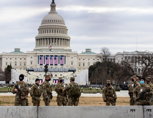 Georgia Army National Guardsmen from various units of the Macon-based 48th Infantry Brigade Combat Team take up security positions outside the U.S. Capitol on Jan 19, 2021. (Sgt. 1st Class R.J. Lannom Jr./Army National Guard)