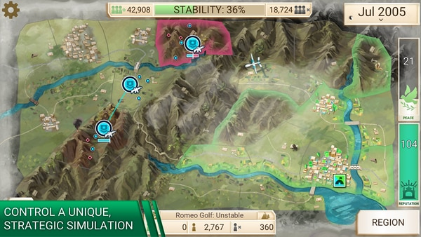 The game Rebel Inc. is proving an increasingly popular counterinsurgency simulation on Apple (and soon Android) devices. (Courtesy Ndemic Creations)
