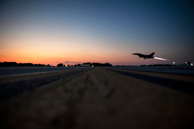 An F-16 Fighting Falcon takes off for a nighttime training mission, June 16, 2020. Holbrook was killed during another F-16 training mission in 2017. (Senior Master Sgt. Beth Holliker/Air National Guard)