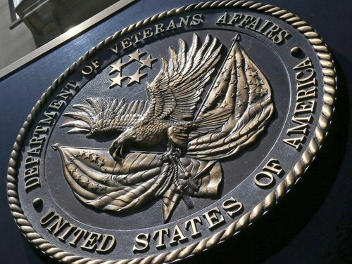 The seal affixed to the front of the Department of Veterans Affairs building in Washington. The House Veterans Affairs Committee held a hearing July 8 on handling benefits for bad-paper discharges. (Charles Dharapak/AP)