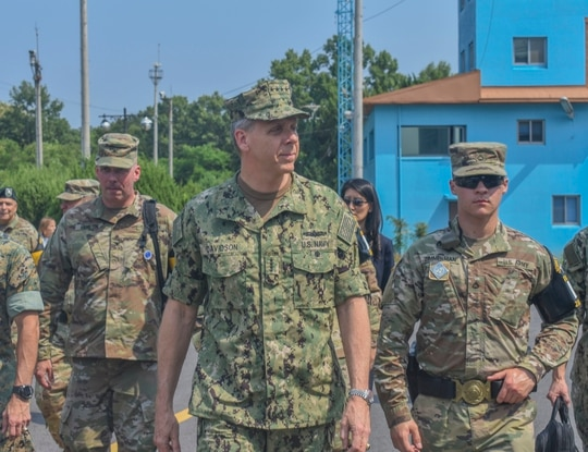 Adm. Philip Davidson, head of U.S. Indo-Pacific Command, tours the Demilitarized Zone at Joint Security Area Paju in South Korea in June 2018. Davidson will testify before several committees on Capitol Hill this week. (Sgt. Nicholas Brown-Bell/Army)