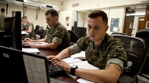 The newly established Marine Corps Cyber Auxiliary has been working on a series of projects since it was created in May, one being an automation task force. (Lance Cpl. Jose Villalobosrocha/U.S. Marine Corps)