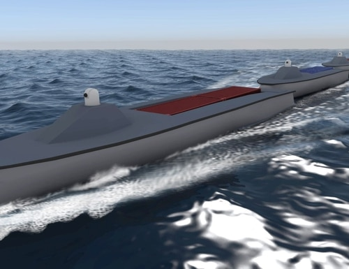 DARPA's Sea Train concept hopes to enable a convoy of medium-sized unmanned vessels to travel across the ocean without refueling, before splitting up to conduct independent operations. (Courtesy of the Defense Advanced Research Projects Agency)
