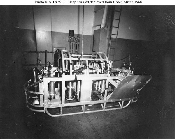 Side view of the towed sled used by the Navy research ship Mizar in the search for the nuclear submarine Scorpion in 1968. (U.S. Naval History and Heritage Command)