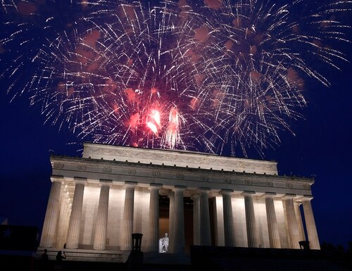 In this July 4, 2019, file photo, fireworks go off over the Lincoln Memorial in Washington on July 4, 2019. (Susan Walsh/AP)