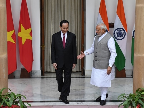 Indian Prime Minister Narendra Modi, right, shakes hands with Vietnamese President Tran Dai Quang prior to a meeting and agreement signing in New Delhi on March 3, 2018. (Prakash Singh/AFP via Getty Images)