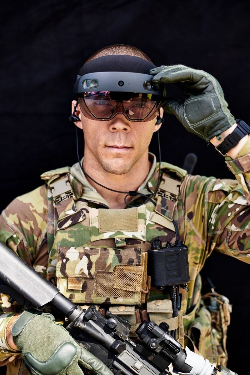 A Soldier from the Old Guard tests the second iteration of the Integrated Visual Augmentation System (IVAS) capability set during an exercise at Fort Belvoir, VA in Fall 2019. (Courtney Bacon/Army)