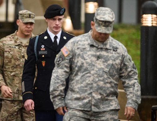 Sgt. Robert Bergdahl will be free of prison time, a judge ruled Friday. He will also be dishonorably discharged from the Army and reduced in rank to private. Bergdahl had pleaded guilty on charges of desertion and misbehavior before the enemy in a pretrial hearing. (Andrew Craft /AP)