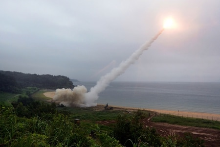 The U.S. Army Tactical Missile System fires a missile into the East Sea during a South Korea-U.S. joint missile drill aimed to counter North Korea's ICBM test on July 29. (South Korean Defense Ministry via Getty Images)