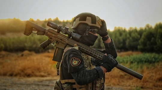 The Syrian democratic forces' counter-terrorism teams are being outfitted with gear and weapons similar to what US special operations troops carry into battle. (Photo from @calibreobscura Twitter embed)