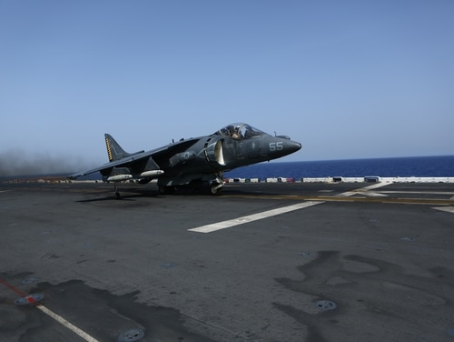 A U.S. Marine Corps AV-8B Harrier II with the 22nd Marine Expeditionary Unit (MEU) takes off from the flight deck of the amphibious assault ship USS Wasp (LHD 1) in support of Operation Odyssey Lightning (OOL), Oct. 14, 2016. OOL is an ongoing operation at the request of the Libyan Government of National Accord (GNA), the United States military conducted precision air strikes against Daesh targets in Sirte, Libya, to support GNA-affiliated forces seeking to defeat Daesh in its primary stronghold in Libya.(U.S. Marine Corps photo by Cpl. John A. Hamilton Jr.)