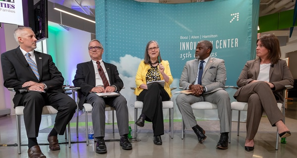 Panelists discuss a report from the Purdue University's Military Family Research Institute on Monday, analyzing some state and local characteristics of military and veteran families. (Trish Alegre-Smith)