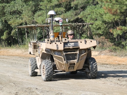 An MRZR vehicle with a tethered Hoverfly quadcopter was used to perform reconnaissance and surveillance during two demonstrations of ground robotics at the Maneuver Center of Excellence at Fort Benning, Ga. (Jen Judson/Staff)