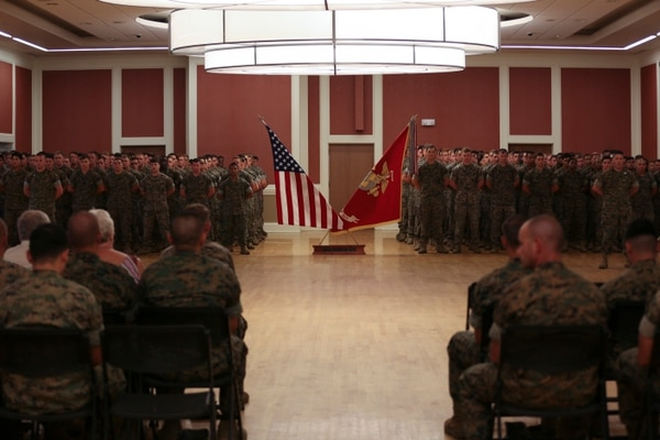 U.S. Marines with Echo Battery, 2nd Battalion, 10th Marine Regiment attended a Purple Heart Medal presentation ceremony at the Marston Pavilion, Camp Lejeune, N.C., July 28, 2016. U.S. Marine Corps Cpl. Daniel L. Meinema received the medal due to wounds received during Operation Inharrant Resolve in Kara Soar Counter Fire Complex, Iraq. (U.S. Marine Corps photo by Cpl. Alexander Hill, 2d MARDIV Combat Camera/Released)
