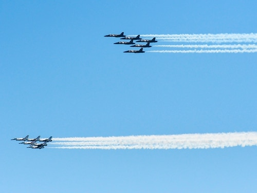 The Navy's Blue Angels and the Air Force's Thunderbirds conduct