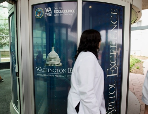 The entrance of the Washington D.C. VA Medical Center is shown on June 2014. The hospital currently has the most active coronavirus cases of any VA hospital in America. (Jose Luis Magana/AP)