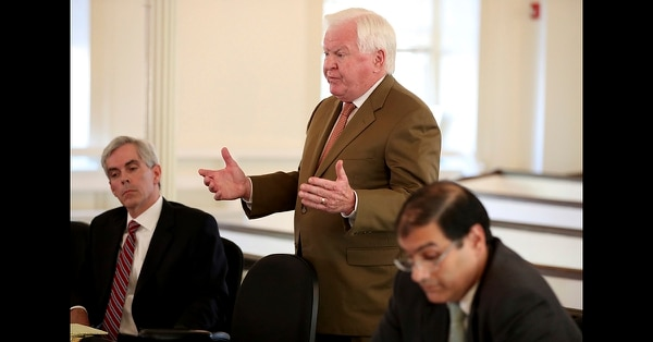 Christopher C. Fallon Jr., center, who is the lawyer for Johnny Bobbitt, argues for his client during a hearing on missing funds in his case in the Olde Historic Courthouse in Mt. Holly, N.J., Wednesday, Sept. 5, 2018. McClure and D'Amico are accused of mismanaging the money raised for Bobbitt. (David Maialetti/The Philadelphia Inquirer via AP, Pool)