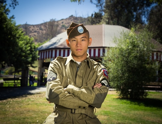 Gregory Wong, 31, seen here cosplaying a World War II soldier, was arrested Tuesday for attempting to join a formation of National Guard troops while armed and in uniform. (Spartan117GW)