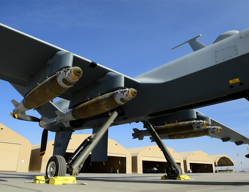 An MQ-9 Reaper, assigned to the 62nd Expeditionary Reconnaissance Squadron, armed with four GBU-38 Joint Direct Attack Munition parks on a flightline before a mission on Kandahar Airfield, Afghanistan Feb. 22, 2018. The 62nd ERS provides close air support, intelligence, surveillance and reconnaissance capabilities in Afghanistan.(U.S. Air Force Photo by Tech. Sgt. Paul Labbe)