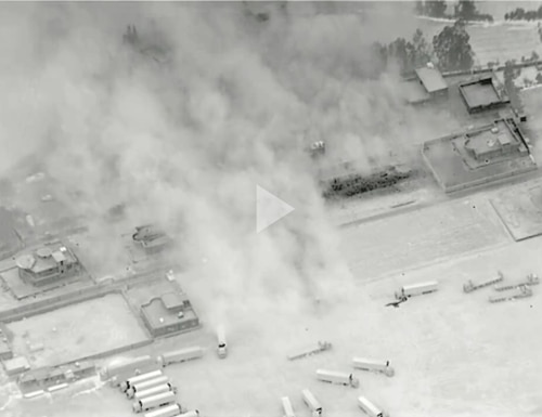 U.S. military forces conduct defensive precision strikes on a facility used by Iran-backed militia groups for operations, planning, and storage of unmanned aerial vehicles.(Screenshot from DoD video)