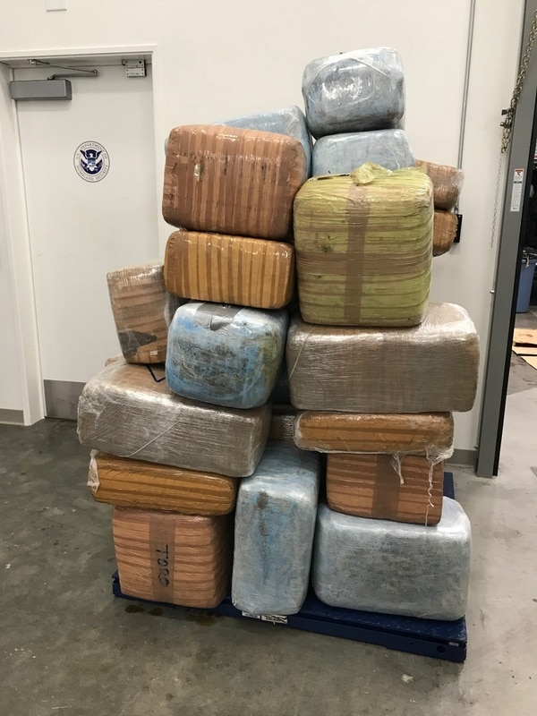 Approximately 1,300 pounds of marijuana seized by Coast Guard Station Los Angeles-Long Beach crew members. (Coast Guard)