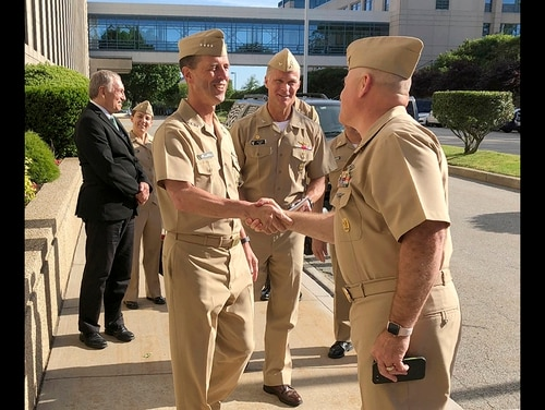 Adm. John Richardson, chief of naval operations, arrives at the U.S. Naval War College in Newport, R.I., on Wednesday, June 12, 2019, to speak to students about leadership. (Jennifer McDermott/AP)
