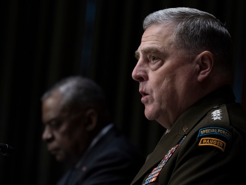 Army Gen. Mark A. Milley, chairman of the Joint Chiefs of Staff, testifies before the Senate Appropriations Committee while Defense Secretary Lloyd J. Austin III (left) listens in the background on June 17. (Chad J. McNeeley/DOD)