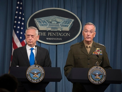 Secretary of Defense James Mattis and Marine Gen. Joseph Dunford Jr., the chairman of the Joint Chiefs of Staff, speak to the media during a press conference at the Pentagon, Aug. 28, 2018. (Tech Sgt. Vernon Young Jr./DoD)