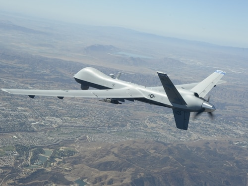 An MQ-9 Reaper remotely piloted aircraft soars over Southern California skies on a training flight on Sept. 15, 2016. (Neil Ballecer / Air National Guard)