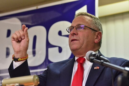 Rep. Mike Bost, R-Ill., speaks to supporters during an election night rally in Murphysboro, Ill., on Nov. 6, 2018. (Stephen Lance Dennee/AP)