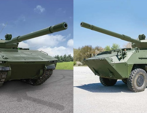 From left, the Sabrah tank is based on the tracked ASCOD platform manufactured by General Dynamics European Land Systems, and on the wheeled Pandur II vehicle is manufactured by the Czech firm Excalibur Army. (Elbit Systems)