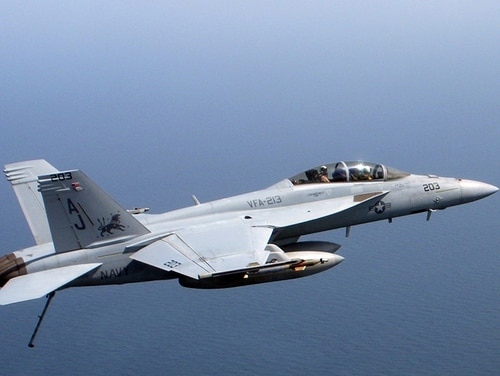 An F/A 18 Super Hornet, assigned to the
