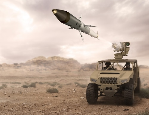 Concept art shows a ground vehicle launching an APKWS rocket. (BAE Systems)