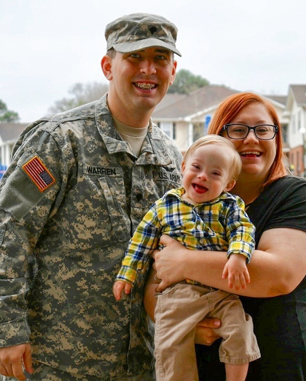Spc. Jason Warren and his wife, Cortney Warren, are shown with baby Lucas, who is the eighth baby to represent Gerber. (Courtesy photo)