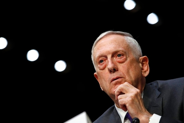 Defense Secretary Jim Mattis listens to a question on the Department of Defense budget posture during a Senate Armed Services Committee hearing, Thursday April 26, 2018, on Capitol Hill in Washington. (Jacquelyn Martin/AP)