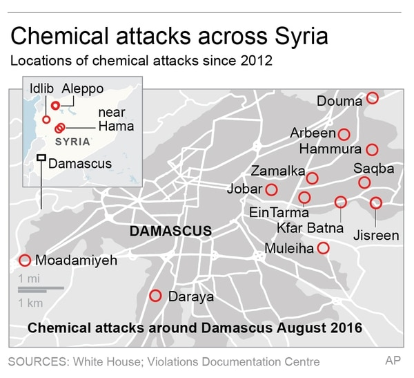 A map of some chemical attacks in Syria since 2012. (AP)