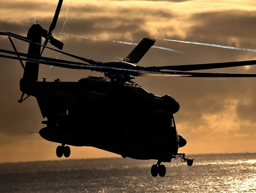 A CH-53E Super Stallion lands aboard USS Makin Island on Nov. 17, 2011. (Marine Corps)