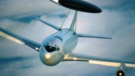 During the Cold War, the Air Force met the challenge of airborne intelligence gathering with three aircraft: AWACS, pictured here, JSTARS and the RC-135 Rivet Joint. (Air Force)