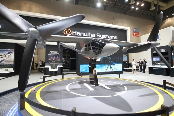 Hanwha Systems displayed a mock-up of its personal air vehicle, Butterfly, at DX Korea 2020. (Courtesy of Hanwha)