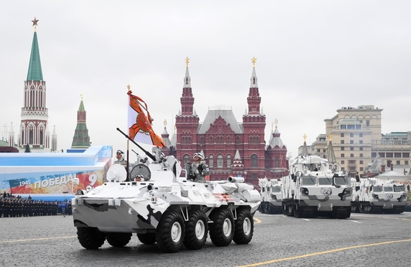 Russian TOR-M2 tactical surface-to-air missile systems and Pantsir-SA air defense systems are decked out in their Arctic colors as they ride through Red Square during a military parade in Moscow on May 9, 2017. (Natalia Kolesnikova/AFP via Getty Images)