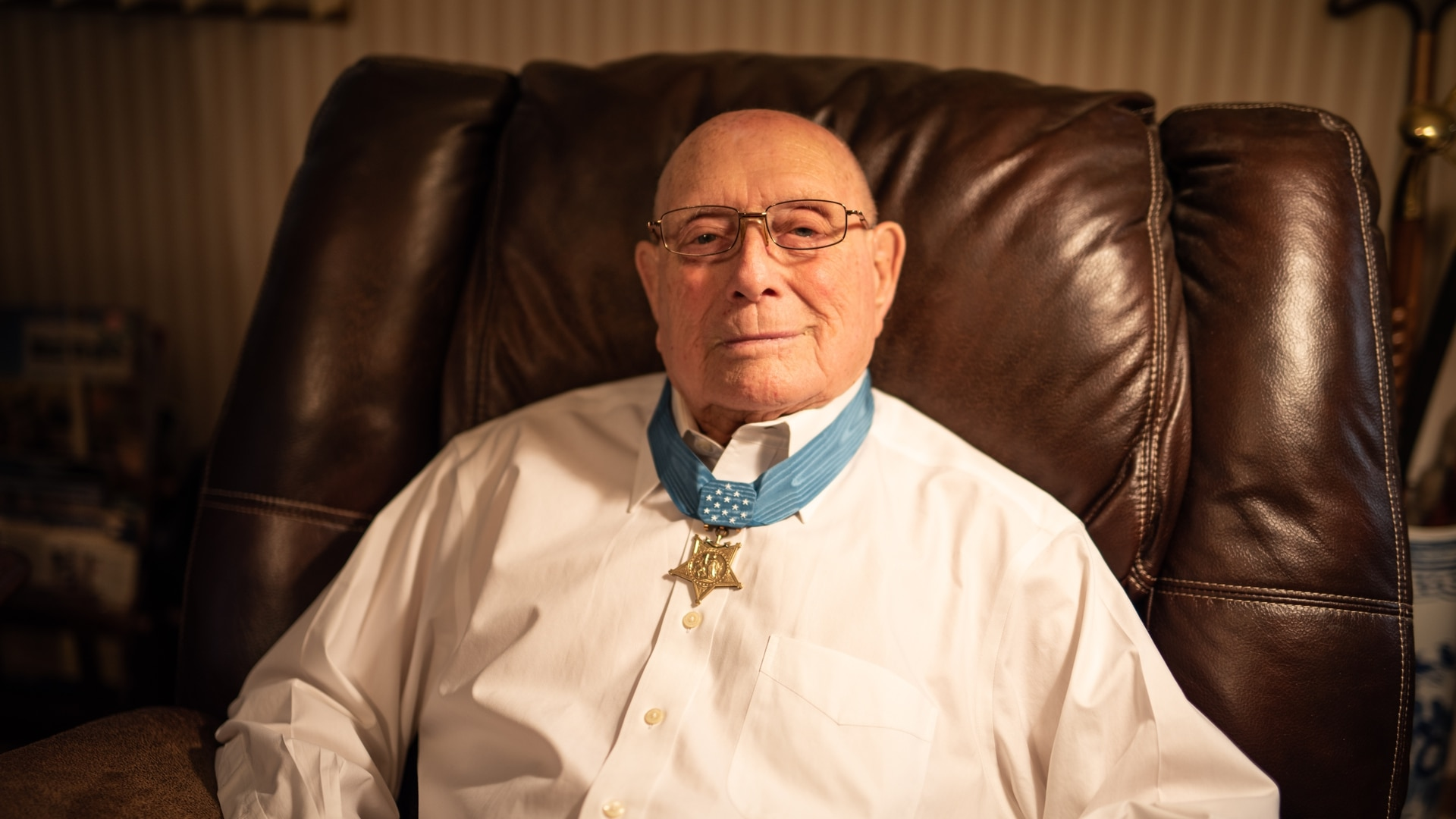 Hershel 'Woody' Williams, 96, wearing the Medal of Honor he received for his actions on Iwo Jima 75 years ago. (J.D. Simkins/Staff)