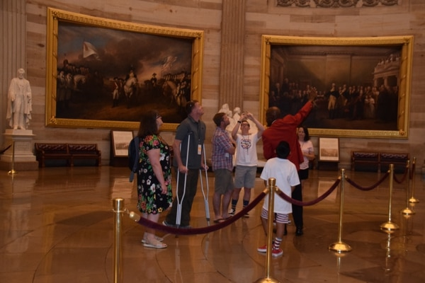 A Wounded Warrior Project family partakes in a private tour of the U.S. Capitol on July 4, 2019. (Kristine Froeba)