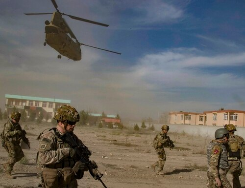 Afghan and U.S. Army soldiers conduct a key leader engagement Dec. 2, 2019, in southeastern Afghanistan. (Army)