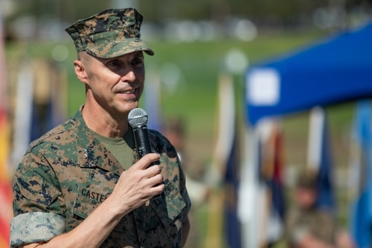 U.S. Marine Corps Maj. Gen. Robert F. Castellvi, the outgoing commanding general of the 1st Marine Division, speaks during a change of command ceremony held at Marine Corps Base Camp Pendleton, California, Sept. 22, 2020. (photo by Cpl. Jailine L. AliceaSantiago, Marine Corps)