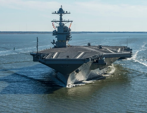 In this April 8, 2017, file photo, the USS Gerald R. Ford embarks on the first of its sea trials to test various state-of-the-art systems on its own power for the first time, from Newport News, Va. Work at the shipyard will mark the next phase in the development of the Navy's most advanced and scrutinized warship. (MC2 Ridge Leoni/Navy via AP)