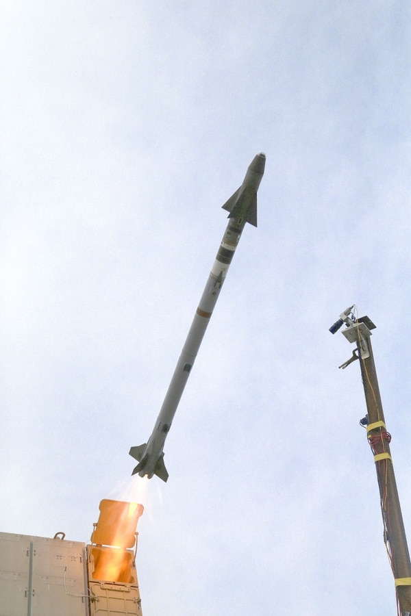 A missile is launched from the IFPC Increment 2-I Block 1 multi-mission launcher demonstrator. (Army)