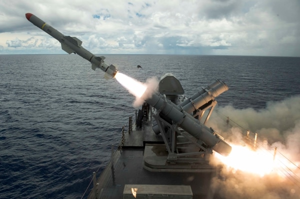 A harpoon missile launches from the missile deck of the littoral combat Coronado off the coast of Guam. Taiwan is preparing to buy the ground-launched version of the missile. (U.S. Navy photo by MC2 Kaleb Staples)