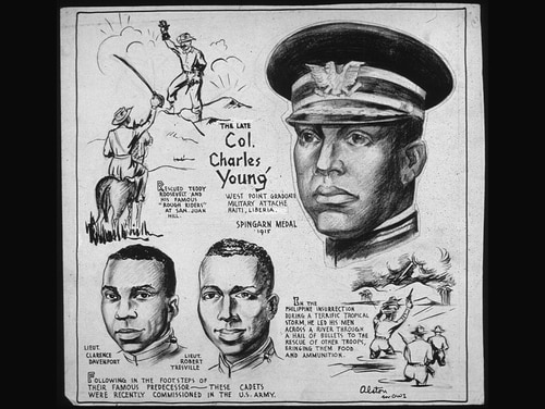 A 1943 cartoon about the life of Col. Charles Young, the first African-American military attache and the highest-ranking black officer in the Army until his death in 1922. (Defense Intelligence Agency)