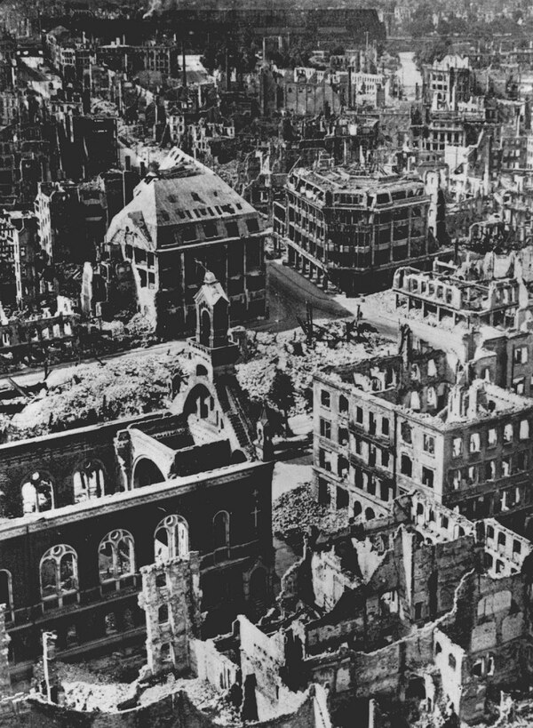 The ruins of Dresden after the Allied bombing raid. (Evening Standard/Getty Images)